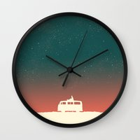 budi satria kwan Wall Clocks featuring Quiet Night - starry sky by Picomodi