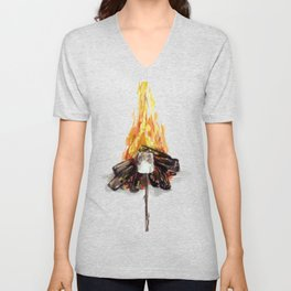 Campfire, Smore, Marshmallow Roasting, Camping Unisex V-Neck