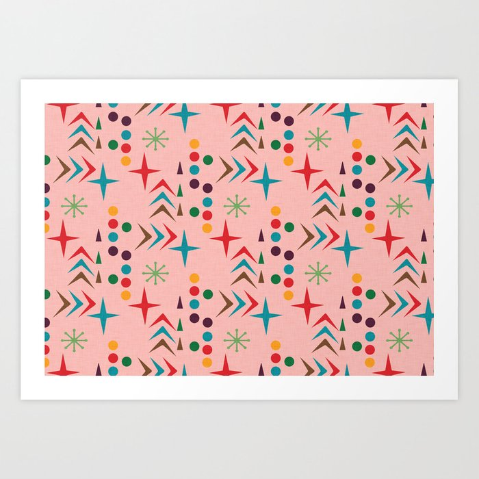 Atomic Pattern Mid Century Modern Homedecor Art Print By Susycosta