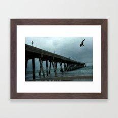 Surreal Haunting Coastal Blue Ocean Fishing Pier Framed Art Print