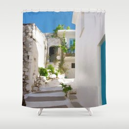 Lots of Steps and Whitewashed Buildings in Greece Shower Curtain