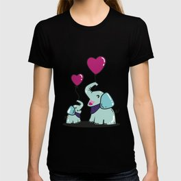 Elephant, Baby Elephant, Heart Balloon T-shirt