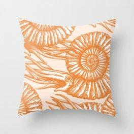 AMMONITE COLLECTION ORANGE Throw Pillow