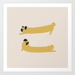 Stretching Pug Art Print
