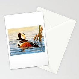 Hooded Merganser Duck Stationery Cards