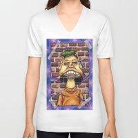 floyd V-neck T-shirts featuring Floyd by cdeeryart
