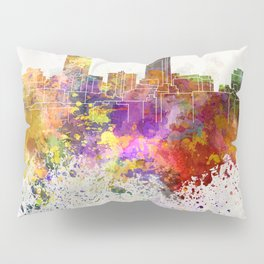 Omaha skyline in watercolor background Pillow Sham