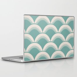 Japanese Fan Pattern Foam Green and Beige Laptop & iPad Skin