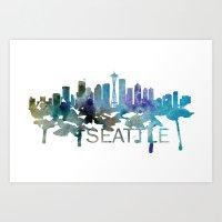 Seattle Art, Seattle Skyline, Seattle map, Seattle skyline, Seattle map print Art Print