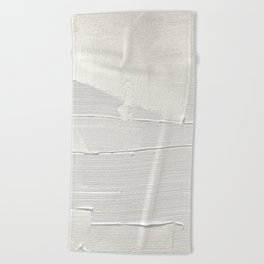 Relief [1]: an abstract, textured piece in white by Alyssa Hamilton Art Beach Towel