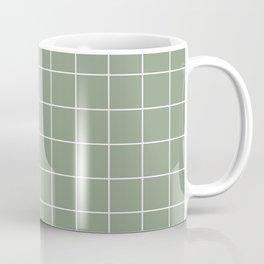 Grid Pattern Sage White 8DA086 Stripe Line Minimal Stripes Lines Spring Summer Coffee Mug