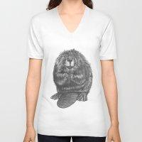 beaver V-neck T-shirts featuring Beaver by Nasir Nadzir