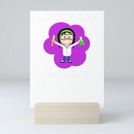 Science Fair Champion Dark Hair Girl Scientist Mini Art Print