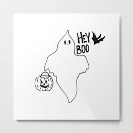 Hey Boo Ghost and Bat Go Trick or Treating Metal Print