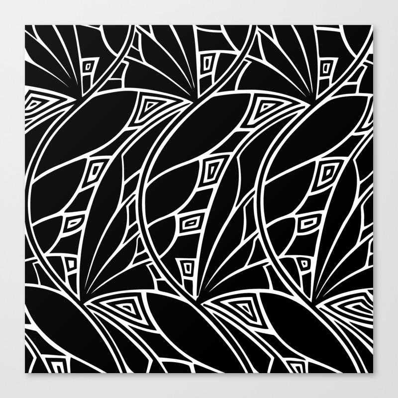 Modern art nouveau tessellations black and white canvas print