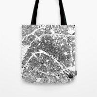 paris map Tote Bags featuring PARIS by Maps Factory
