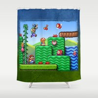 super mario Shower Curtains featuring Super Mario 2 by likelikes