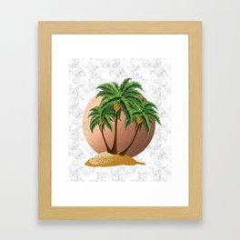 Cartoon island with palms on marble Framed Art Print