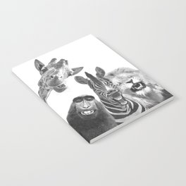 Black and White Jungle Animal Friends Notebook