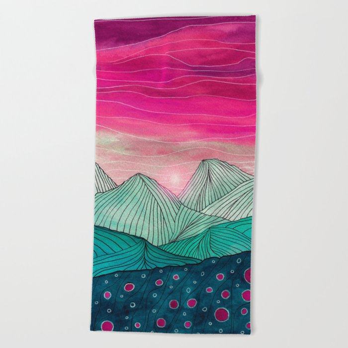 Lines in the mountains XIV Beach Towel