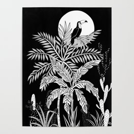 Toucan in the night jungle Poster