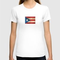 puerto rico T-shirts featuring Vintage Aged and Scratched Puerto Rican Flag by Jeff Bartels