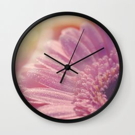 Pink Gerbera Daisy Flower with sparkling waterdrops #Society6 Wall Clock