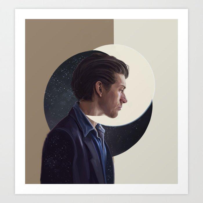 alex and moon Art Print