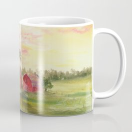 Red Barn, Farm Painting, by Faye Coffee Mug