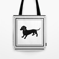 dachshund Tote Bags featuring Dachshund by Antique Images