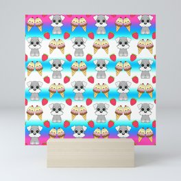 Cute happy funny baby Schnauzer puppy, sweet adorable yummy colorful Kawaii ice cream cones and red summer strawberries cartoon bright white blue striped pattern design Mini Art Print