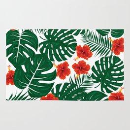 Tropical Leaves Hibiscus Flowers Rug