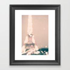 Paris, Eiffel Tower lights on pink Framed Art Print