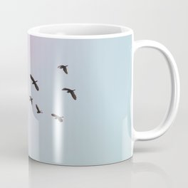 Birds Fly Sky Rose Blue Coffee Mug