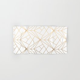 Geometric Gold Pattern With White Shimmer Hand & Bath Towel