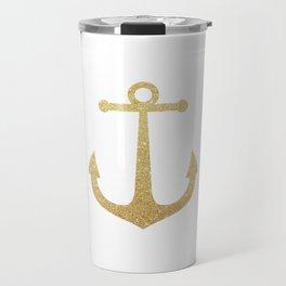Gold Glitter Anchor Travel Mug