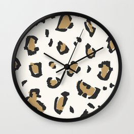 Wildcat Big Leopard Print in Bone White Wall Clock