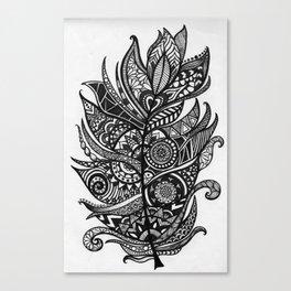 Zen Tangle Feather Canvas Print