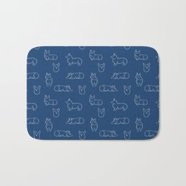 Corgi Pattern on Navy Background Bath Mat