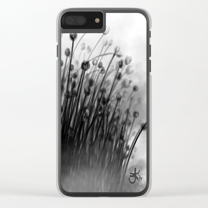 Black Lily Flowers Clear iPhone Case