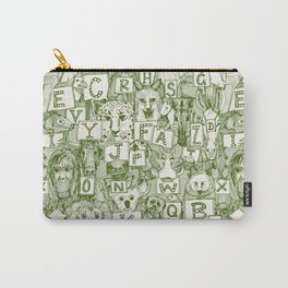 animal ABC green ivory Carry-All Pouch
