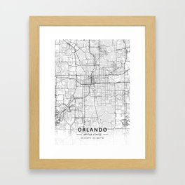 Orlando, United States - Light Map Framed Art Print