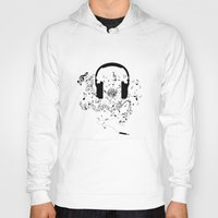 music notes Hoodies featuring Headphones and Music Notes by JuyoDesign