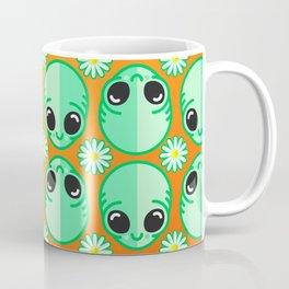 Happy Alien and Daisy Nineties Grunge Pattern Coffee Mug