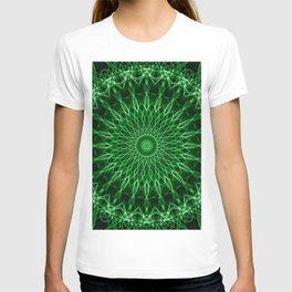 Mandala with dark and light green tones T-shirt