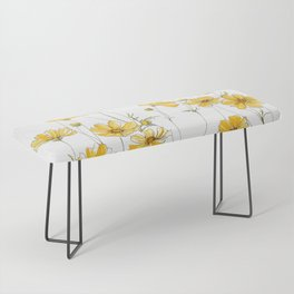 Yellow Cosmos Flowers Bench