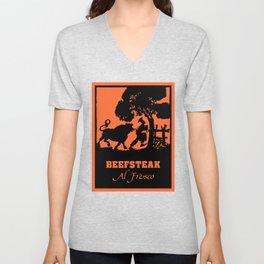Beefsteak al fresco, silhouette art Unisex V-Neck