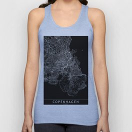 Copenhagen Black Map Unisex Tank Top