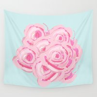 shabby chic Wall Tapestries featuring Shabby Chic Roses on  Blue by KarenHarveyCox