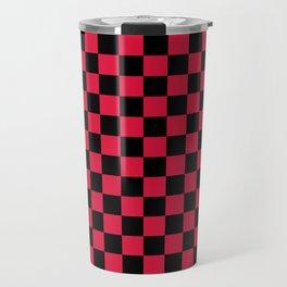 Black and Crimson Red Checkerboard Travel Mug